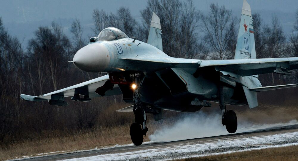 Su-27SM fighter lands as part of the tactical flight drill by fighter aircraft of the Eastern Military District conducted at Tsentralnaya Uglovaya military airfield in Primorye Territory