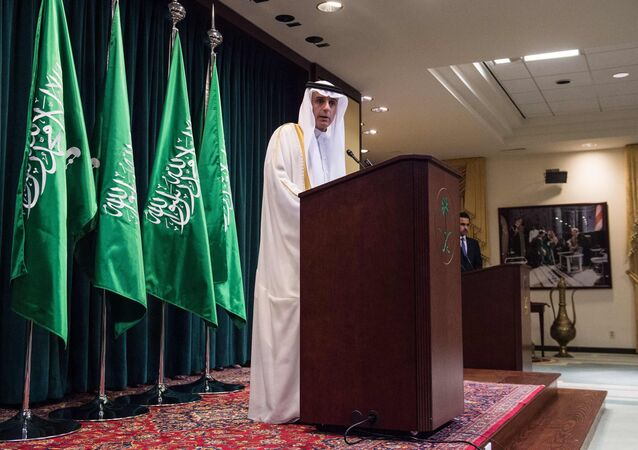 Saudi Foreign Minister Adel al-Jubeir holds a press conference in Washington, DC, on July 15, 2016, following the release of 28 pages of a 9/11 Congressional report. The US probed links between the government of Saudi Arabia and the 9/11 attacks, finding multiple suspicions but no proven ties, documents declassified on July 15, 2016 showed.