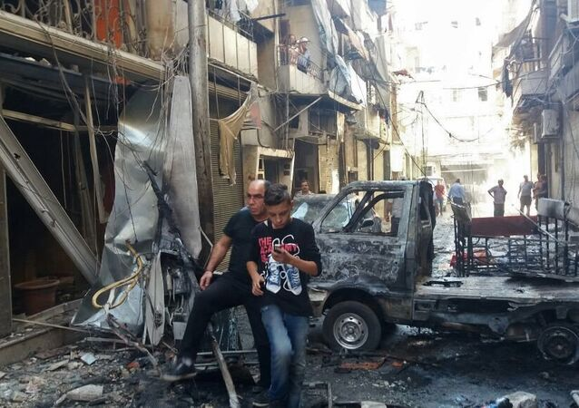 Aftermath of mortar shelling of Aleppo