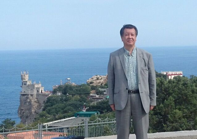 Mitsuhiro Kimura, leader of the Issuikai far-right political party, in Crimea.
