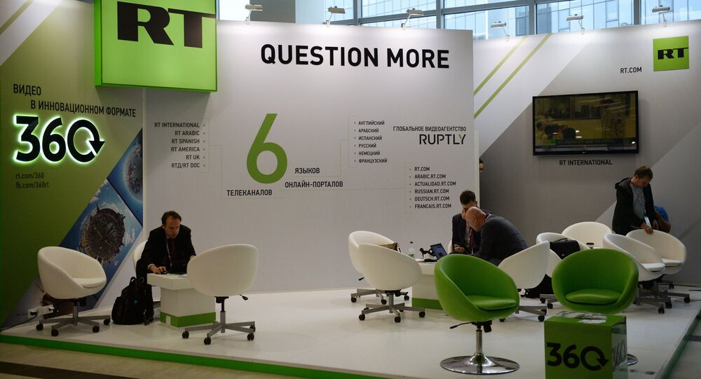 The Russia Today TV channel stand at the Eastern Economic Forum