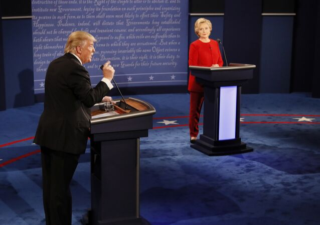 Republican presidential nominee Donald Trump gestures during the presidential debate with Democratic presidential nominee Hillary Clinton at Hofstra University in Hempstead, N.Y., Monday, Sept. 26, 2016