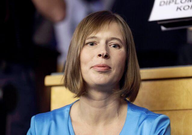 Presidential candidate Kersti Kaljulaid waits for the vote in Estonia's Parliament in Tallinn, Estonia, October 3, 2016.