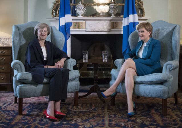 Britain's new Prime Minister Theresa May (L) meets with Scotland's First Minister Nicola Sturgeon in Bute House in Edinburgh, on July 15, 2016.