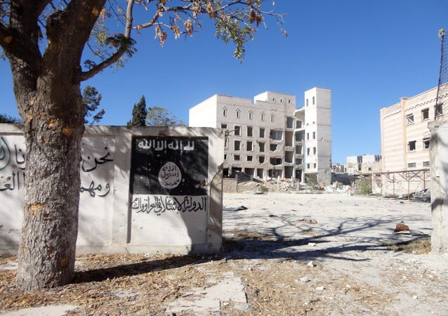 A general view taken on September 25, 2016 shows the flag of the Islamic State (IS) group painted on the wall outside the ancient Minbij hotel in the Syrian town of Manbij, that was used as a prison when it was under the control of the Islamic State (IS) group.