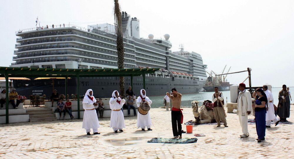 A cruise ship at a Tunisian port