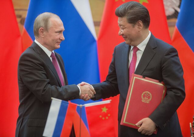 Russian President Vladimir Putin, left, and President of the People's Republic of China Xi Jinping during a signing ceremony of documents following their talks in Beijing. (File)