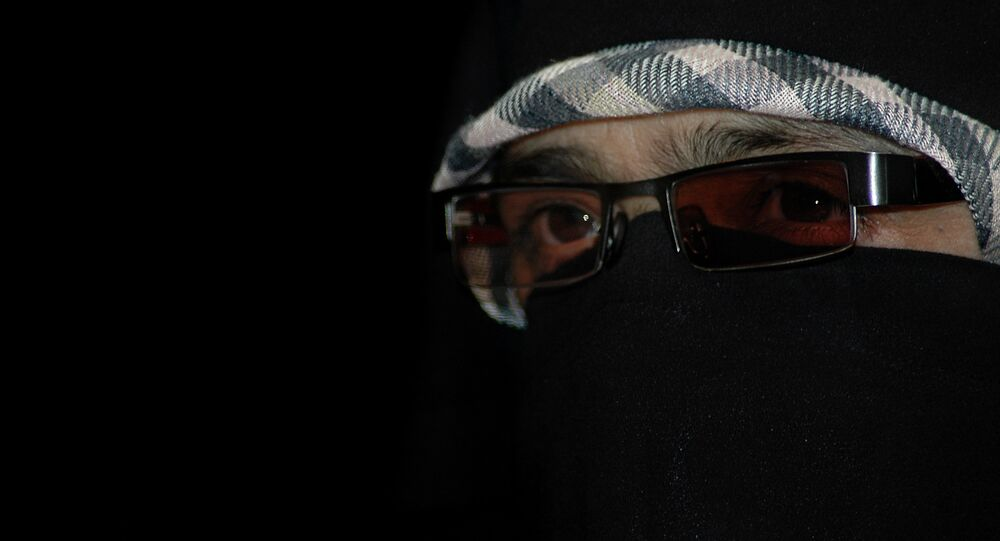 Asiya Andrabi, the head of Kashmir's women's separatist group, Dukhtaran-e- millat, or Daughters of the Nation, looks on during a press conference in Srinagar, India. (File)