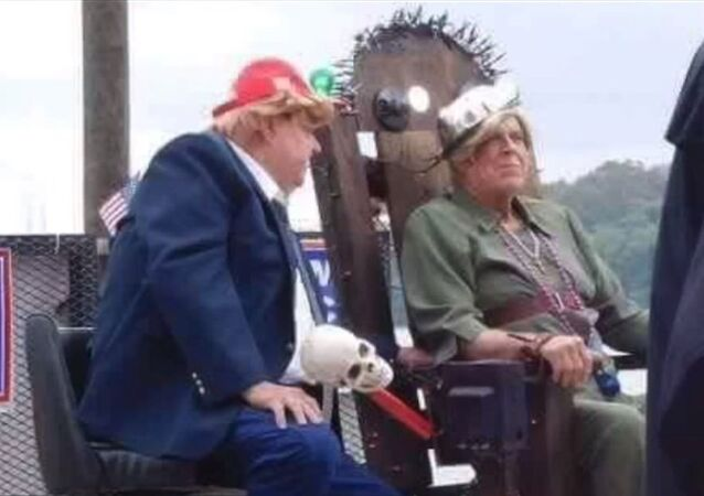 Float Depicting Trump About To Execute Hillary Clinton, Aurora, Indiana