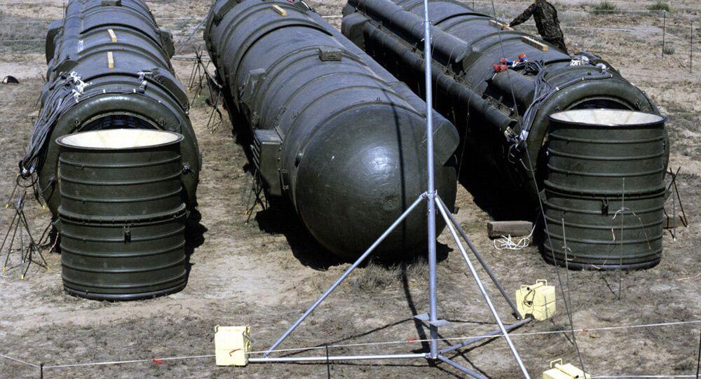 Bundled RSD-10 missiles prepared for demolition. (File)