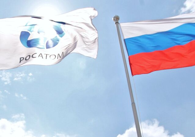 Russian and Rosatom State Corporation flags. (File)