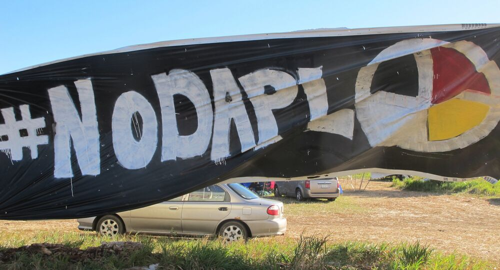 No DAPL Banner at North Dakota Access Site