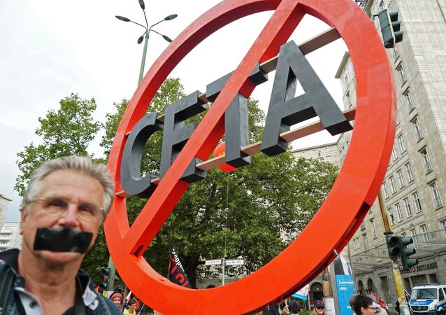 Protest rally against Transatlantic Trade and Investment Partnership (TTIP) in Berlin