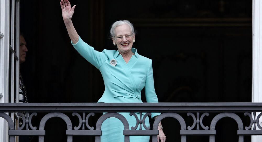 The Queen of Denmark, Margrethe II celebrates her 75th birthday on the balcony looking out at the crowd below, at Christian VII's Palace, Amalienborg, Thursday, April 16 2015.