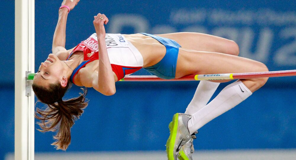 Russia's Anna Chicherova, gold winner in high-jump at the World Athletics Championship in Daegu, South Korea, takes part in the competition. (File)