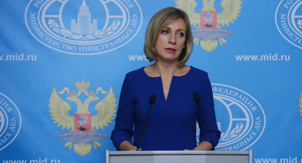Russian Foreign Ministry Spokesperson Maria Zakharova at a briefing