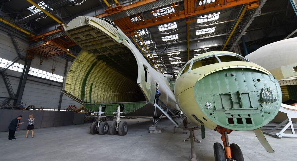 A part of an airframe for the second Antonov-225 Mriya plane is seen at Antonov aircraft plant in Kiev, Ukraine, September 7, 2016