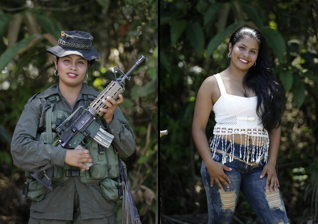 This Aug. 16, 2016 photo shows two portraits of Johana, one of her holding a weapon while in uniform for the 32nd front of the Revolutionary Armed Forces of Colombia (FARC), and in civilian clothing at a guerrilla camp in the southern jungle of Putumayo, Colombia