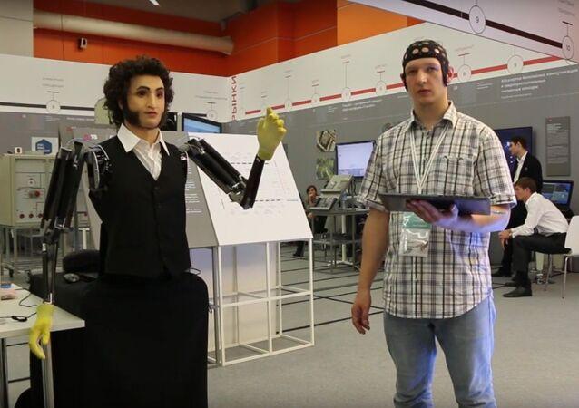 Neurobotics engineer demonstrates neuro-controlled robot Pushkin