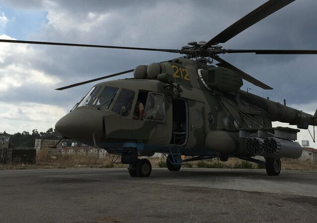 Russian cargo and assault Mi-8AMShT helicopter at the Hmeimim air base in Syria