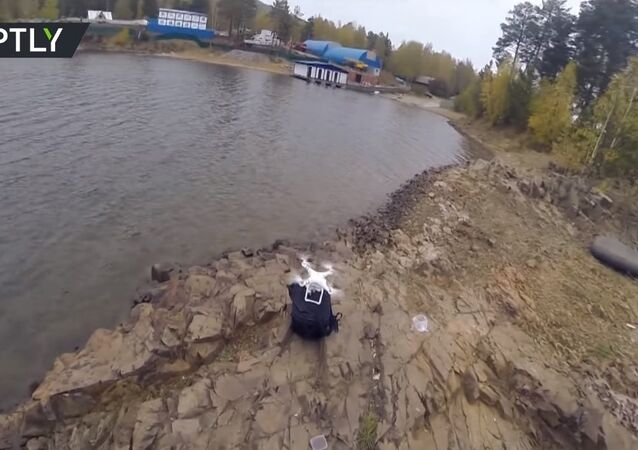Fishing with a quadrocopter at the Krasnoyarsk water reservoir