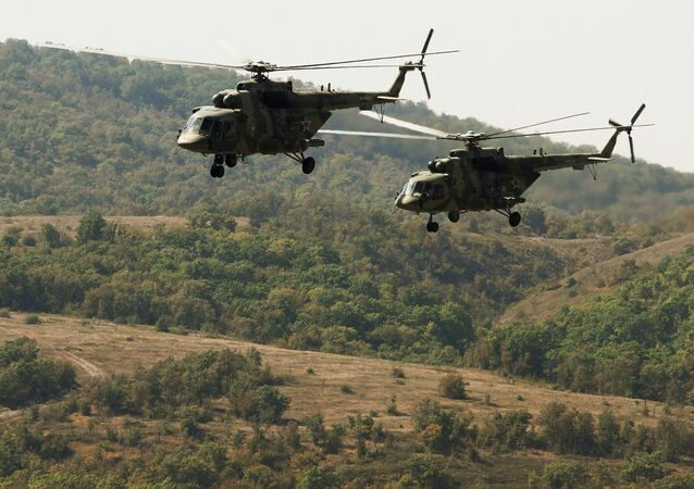 Mi-8 helicopters of the Russian Air Force during a joint battalion drill of the airborne units of Russia, Belarus and Serbia (File)