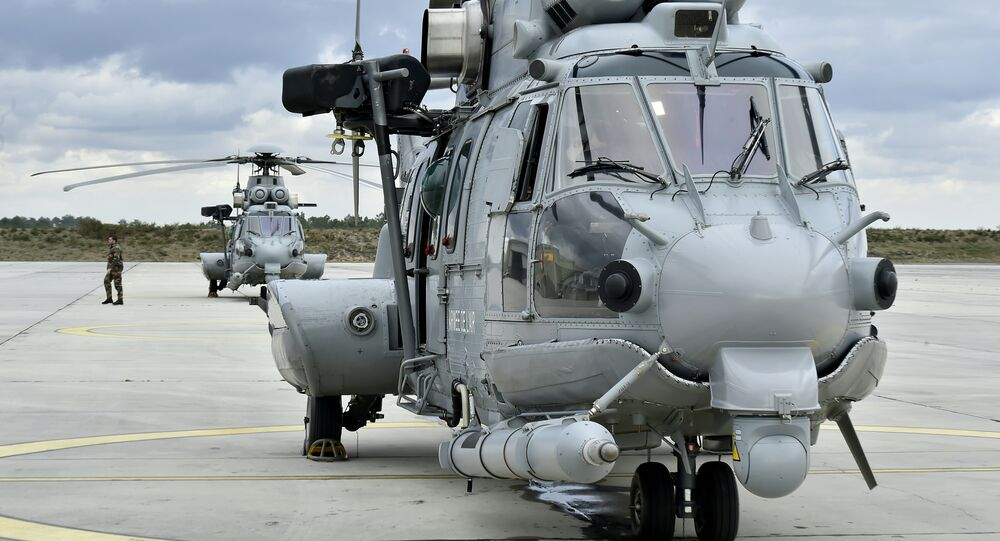 This picture taken on February 24, 2016, shows a French Caracal helicopter prior to an air-to-air refuelling exercise in Cazaux