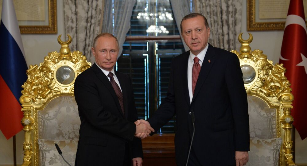 Presidents Vladimir Putin of Russia and Recep Tayyip Erdogan (right) of Turkey meeting in Istanbul, October 10, 2016