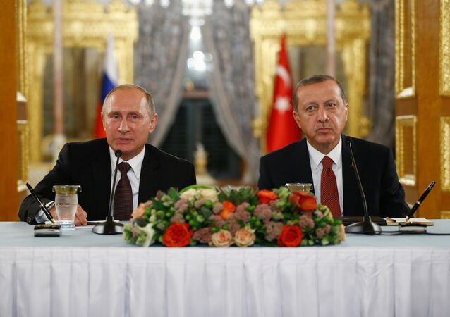 Russian President Vladimir Putin (L) talks during a joint news conference with his Turkish counterpart Tayyip Erdogan following their meeting in Istanbul, Turkey, October 10, 2016