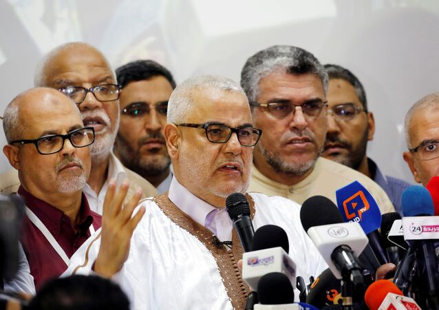 Abdelilah Benkirane, secretary-general of Morocco's Islamist Justice and Development Party (PJD) speaks during a new conference at the party's headquarters in Rabat, Morocco early October 8, 2016.