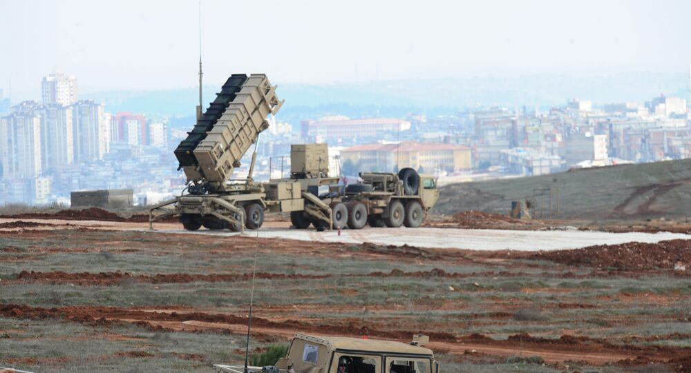 A Patriot missile launcher system is pictured at a Turkish military base in Gaziantep (file)