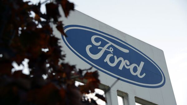 View of logo of the Ford car factory in Genk, some 100kms north east of Brussels - Sputnik International