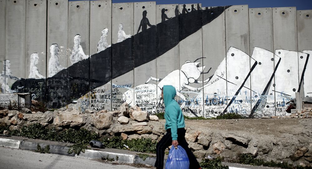 A Palestinian boy walks past graffiti painted on Israel's controversial separation barrier in the Aida refugee camp situated inside the West Bank town of Bethlehem, on February 12, 2016.