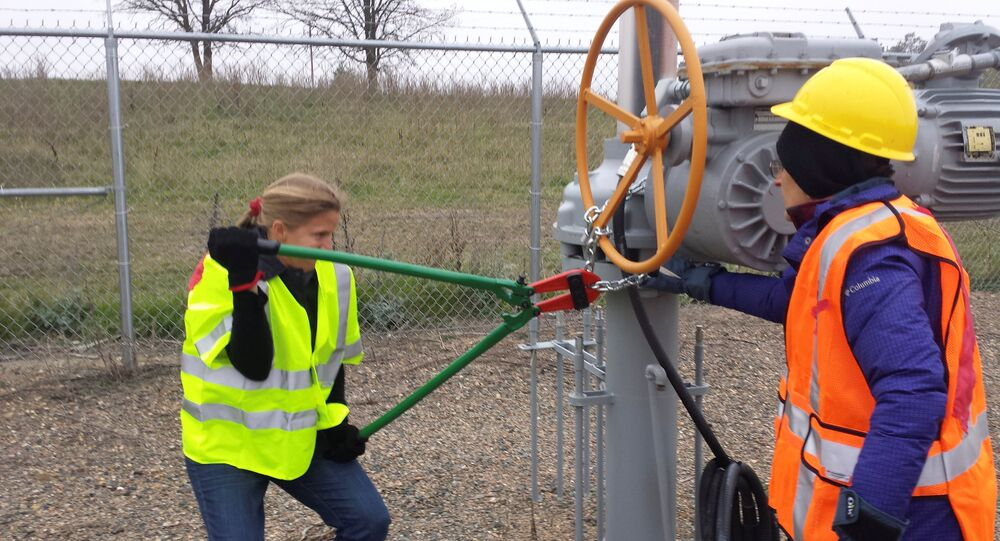 Activists are seen attempting to cut chains after trespassing into a valve station for pipelines carrying crude from Canadian oils sands into the U.S. markets near Clearbrook.