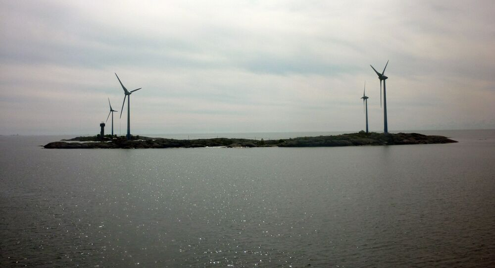 Photo shows wind turbines at the island of Mariahamn between Sweden and Finland