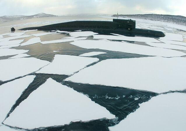 Georgiy Pobedonosets ballistic missile submarine in the sea.