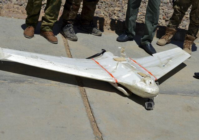 A drone belonging to Islamic State group which was shot down by Iraqi security forces outside Fallujah, 40 miles (65 kilometers) west of Baghdad, Iraq.