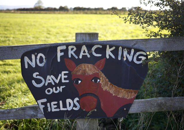 An anti fracking sign hangs on a fence near the village of Roseacre, northern England, October 6, 2016.