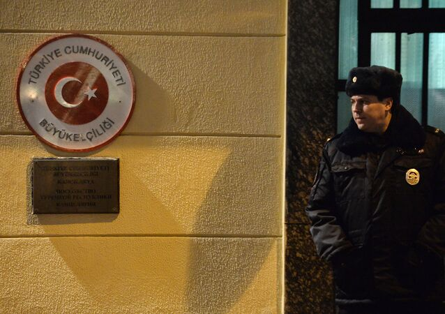 A police officer outside the Turkish Embassy in Moscow.