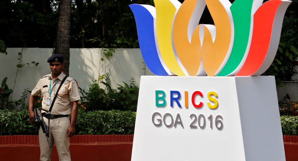 A security personnel stands guard outside one of the venues of BRICS (Brazil, Russia, India, China and South Africa) Summit, in Benaulim in the western state of Goa, India, October 14, 2016.