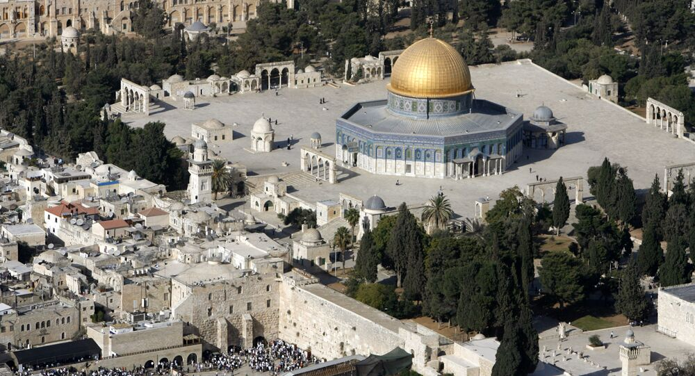 An aerial view shows the Dome of the Rock (R) on the compound known to Muslims as the Noble Sanctuary and to Jews as Temple Mount.