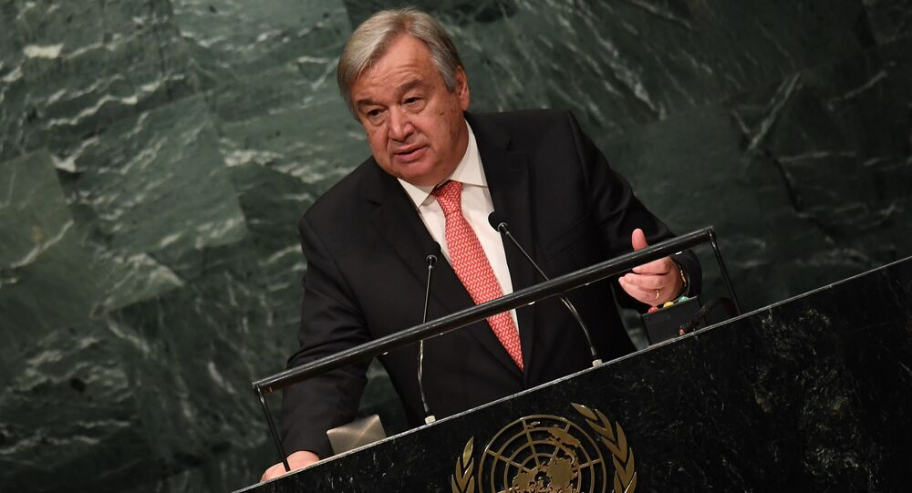 UN Secretary-General-designate Antonio Guterres speaks during the ceremony for the appointment of the Secretary-General during the 70th session of the General Assembly October 13, 2016 at the United Nations in New York