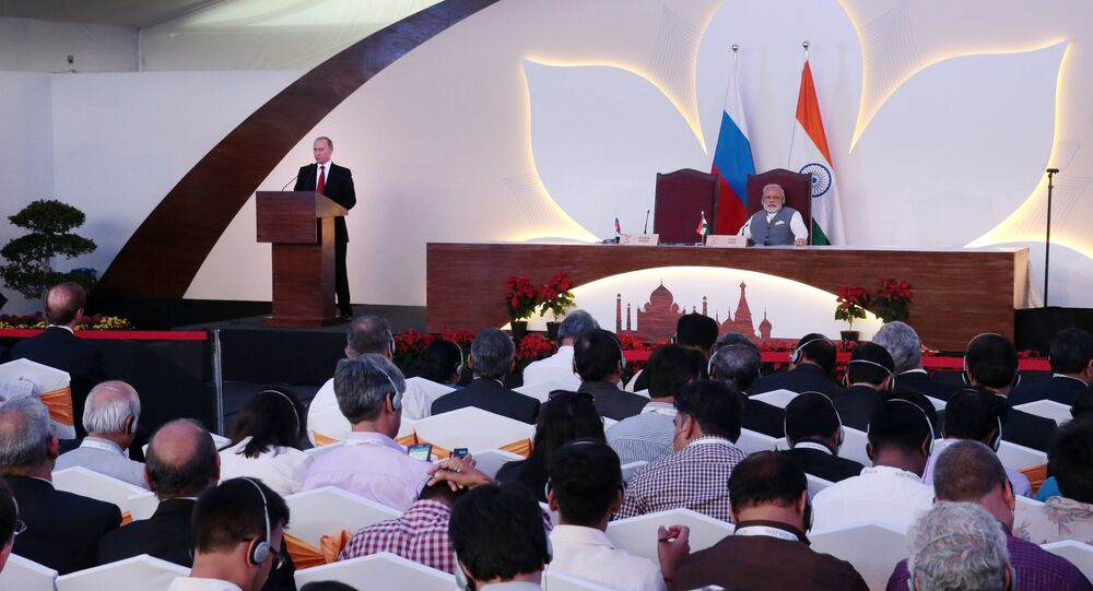 Russian President Vladimir Putin and Indian Prime Minister Narendra Modi, right, during the .joint press statement following Russian-Indian talks in Goa, India