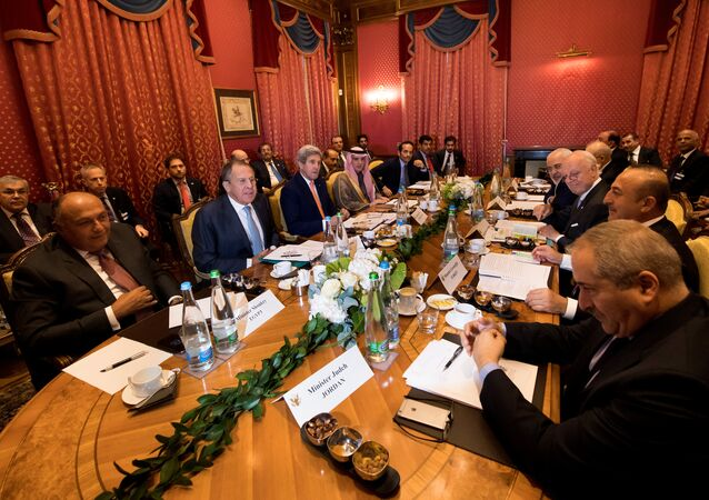 (From L-R), Egypt's Foreign Minister Sameh Shoukry, Russia's Foreign Minister Sergei Lavrov, U.S. Secretary of State John Kerry, Saudi Arabia's Foreign Minister Adel al-Jubeir, Qatar's Foreign Minister Sheikh Mohammed bin Abdulrahman al-Thani, Iraq's Foreign Minister Ibrahim al-Jaafari, Iran's Foreign Minister Mohammad Javad Zarif, Staffan de Mistura, UN Special Envoy of the Secretary-General for Syria, Turkey's Foreign Affairs Minister Mevlut Cavusoglu, Jordan's Foreign Minister Nasser Judeh, speak together around a table during a bilateral meeting where they discussed the crisis in Syria, in Lausanne, Switzerland, October 15, 2016