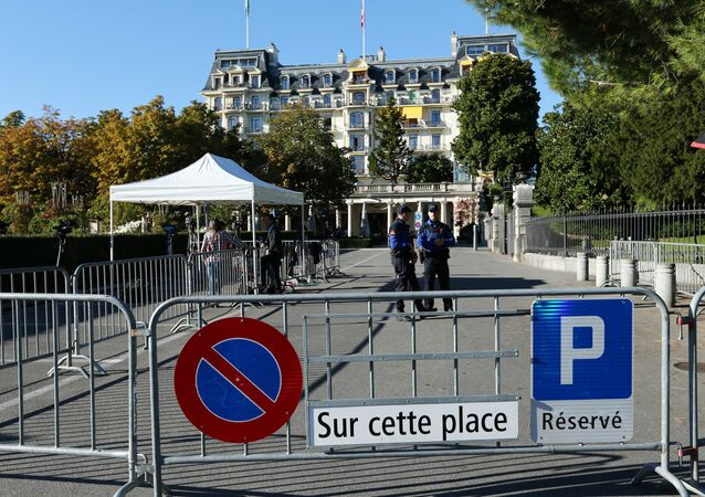Lausanne police forces stand guard outside the Beau-Rivage Palace ahead of Syria talks in Lausanne, Switzerland, October 15, 2016