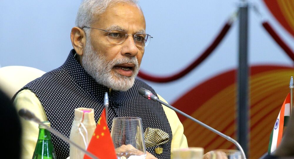 Indian Prime Minister Narendra Modi seen here at Taj Exotica Goa hotel, India at the BRICS Summit restricted meeting