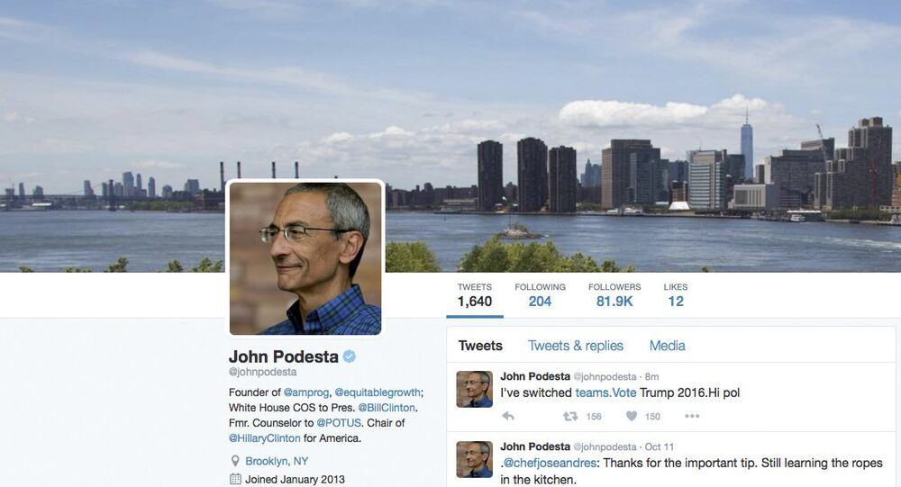 This is screen image of the website of the Twitter verified account of Hillary Clinton campaign chairman John Podesta. It appeared late Wednesday, Oct. 12, 2016, someone hacked Podesta's verified Twitter account and posted a message saying he had switched teams and was supporting Trump