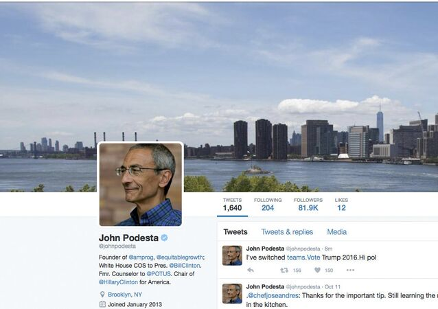 This is screen image of the website of the Twitter verified account of Hillary Clinton campaign chairman John Podesta