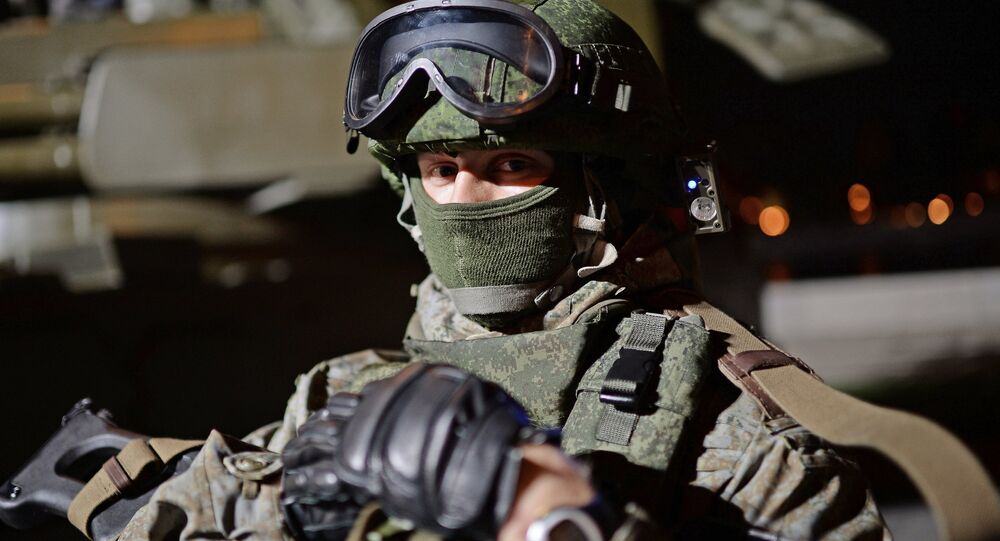 A soldier at the Russian Army Festival in Moscow