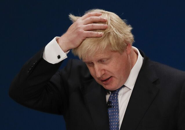 British Foreign Secretary Boris Johnson delivers a speech on the first day of the Conservative party annual conference at the International Convention Centre in Birmingham, central England, on October 2, 2016
